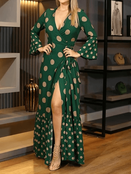 Wrap Lace-up Design Print High Slit Bell sleeves Maxi Dress