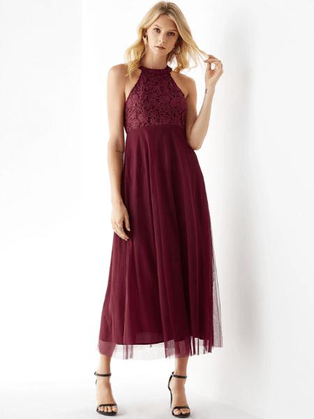 YOINS Burgundy Mesh Halter Sleeveless Lace Dress