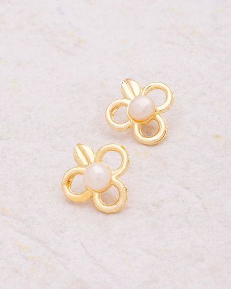 Yellow Gold Plated Floral Stud Earrings