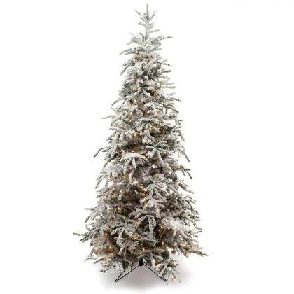 9-foot Flocked Balsam Prelit Christmas Tree