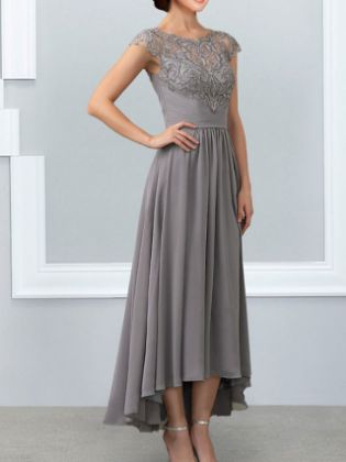 A-Line Mother of the Bride Dress Elegant Jewel Neck Ankle Length Chiffon Lace Sleeveless with Lace Appliques 2020