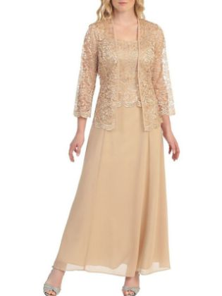 A-Line Mother of the Bride Dress Elegant Plus Size Scoop Neck Ankle Length Chiffon 3-4 Length Sleeve with Lace 2020