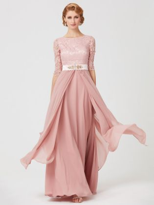 A-Line Mother of the Bride Dress Jewel Neck Ankle Length Chiffon Metallic Lace 3-4 Length Sleeve with Sash - Ribbon Beading 2020 - Illusion Sleeve