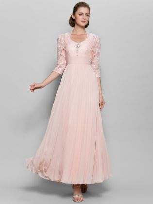 A-Line Sweetheart Neckline Ankle Length Chiffon - Lace Bodice Mother of the Bride Dress with Sequin - Lace - Ruched by LAN TING BRIDE®