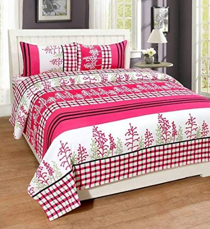 Adegia Clicks 188TC 3D Polycotton Double bedsheets with Complimentory Maching Pillow Covers (Pack of 1 Bedsheet with 2 Pillow Covers) Size 228x228(90 x90 ) cm Color- Design