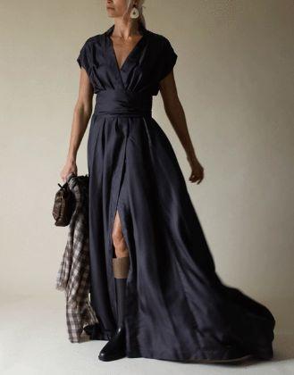 BRUNELLO CUCINELLI - Silk Twill Wrap Full Gown
