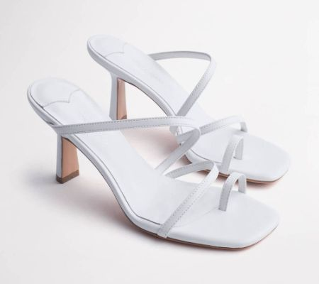 Blossom White Sheep Nappa Heels
