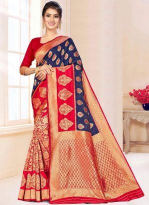 Blue N Red Benarasi Silk Half N Half Saree