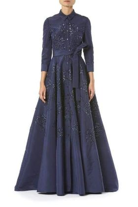 CAROLINA HERRERA - Embroidered Belted Trench Gown