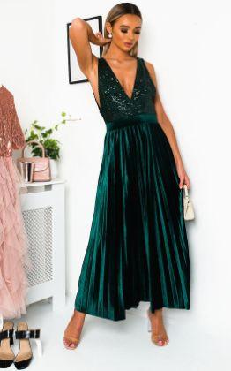 Cassandra Pleated Velvet Sequin Maxi Dress in Green