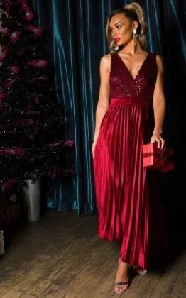Cassandra Pleated Velvet Sequin Maxi Dress in Wine