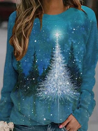 Christmas Print Casual Sweatshirt