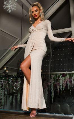 Elegance Evening Maxi Dress in Nude