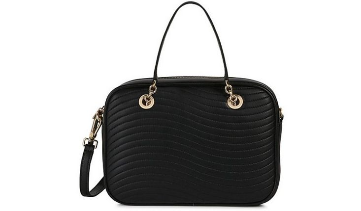 FURLA - Black Quilted Leather Swing S Satchel Bag