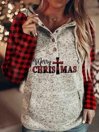 Fashionable Christmas Check Print Hoodie