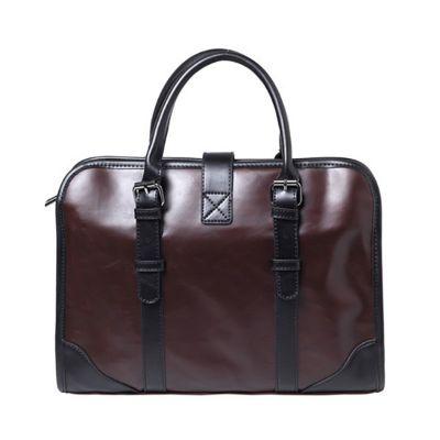 Faux Leather Brown Vintage Business Bag Laptop Bag Briefcase For Men