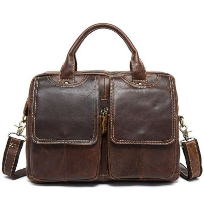 Genuine Leather Vintage 14 Inches Laptop Bag Business Bag Briefcase Crossbody Bag
