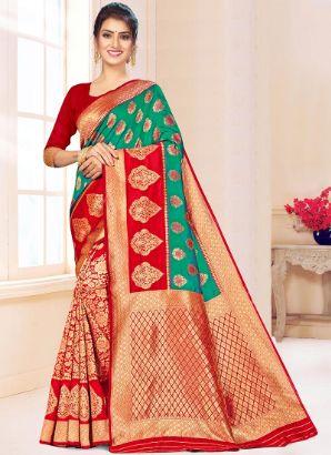 Green N Red Benarasi Silk Half N Half Saree