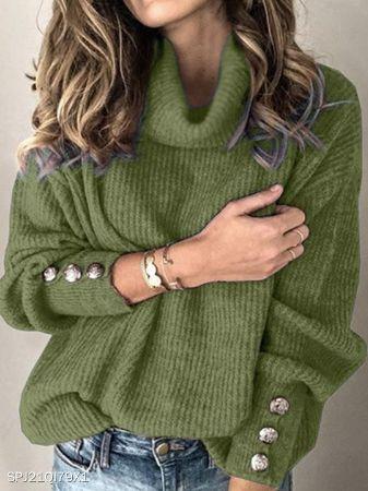 Heap Collar Buttons Long Sleeve Knit Pullover