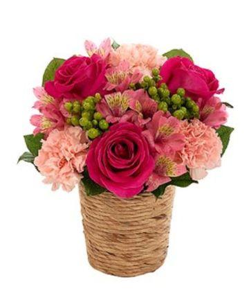 Hot Pink Roses, Green Hypericum, Light Pink Carnations, Pink Alstroemeria in a Water Hyacinth Basket