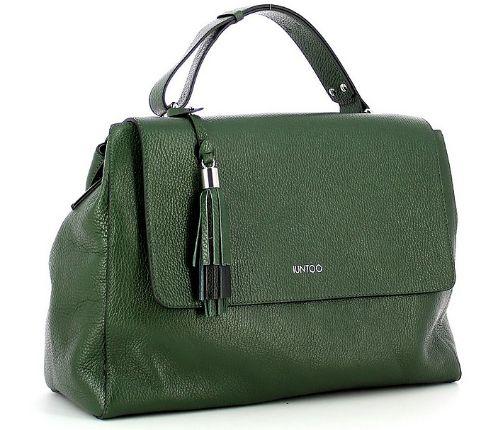 IUNTOO - Green Leather Armonia Convertible Top Handle Bag