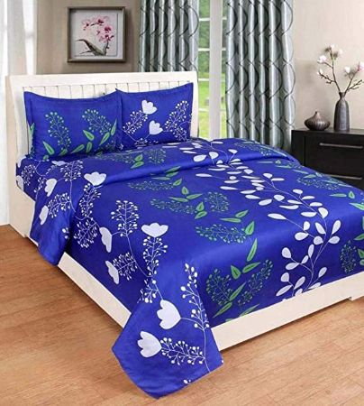 IVAZA Premium 160 TC Latest Beautiful 3D bedsheet Double Bed Polycotton with Two Pillow Covers (Blue) (2)