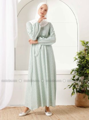 İnşirah - White - Sea-green - Floral - Crew neck - Unlined - - Dress