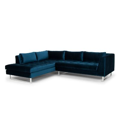 Janis Matte Midnight Blue Sectional with Left Facing Chaise