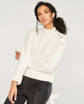 Jeweled Button Mock Neck Sweater