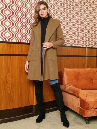 Khaki Open Front Longline Lapel Collar Coat