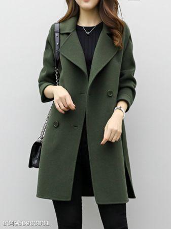 Lapel Double Breasted Plain Coats