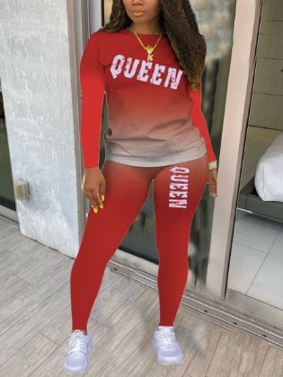 Lovely Casual Gradient Letter Print Red Two Piece Pants Set