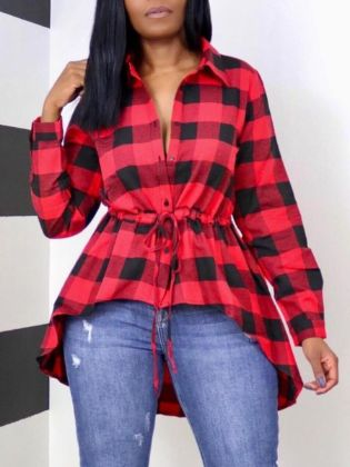 Lovely Casual Plaid Print Drawstring Red Blouse