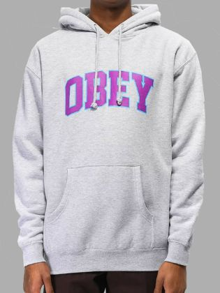 Lovely Street Hooded Collar Letter Print Grey Hoodie