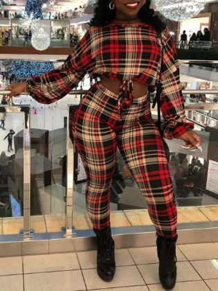 Lovely Street Plaid Print Patchwork Red Two Piece Pants Set