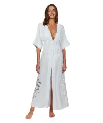 Off White Embroidery Pamela Caftan