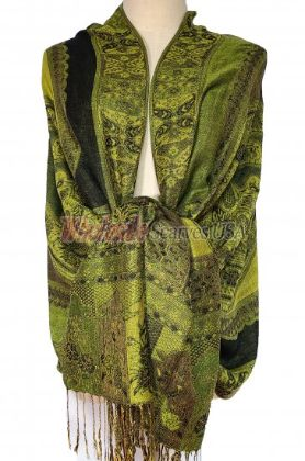 Paisley Flower Shawl Green - Black