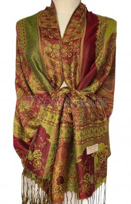 Paisley Flower Shawl Green – Red
