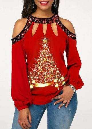 Printed Sequin Embellished Cold Shoulder T Shirt