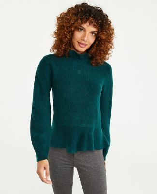 Ruffle Neck Peplum Sweater