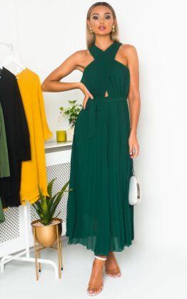 Ryanna Pleated Crossover Maxi Dress in Dark green