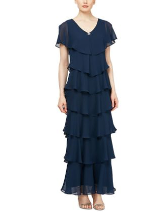 Sheath - Column Mother of the Bride Dress Plus Size V Neck Ankle Length Chiffon Short Sleeve with Tier 2020 - Butterfly Sleeve