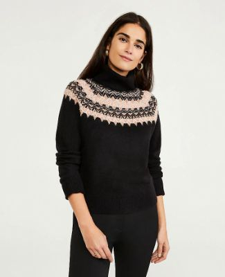 Shimmer Fair Isle Turtleneck Sweater