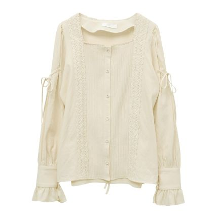 Tie-Sleeve Lace-Trimmed Blouse