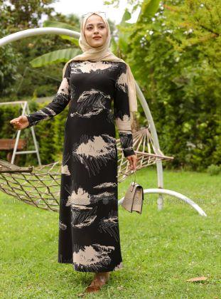 Tofisa - Black - Floral - Crew neck - Unlined - - Dress