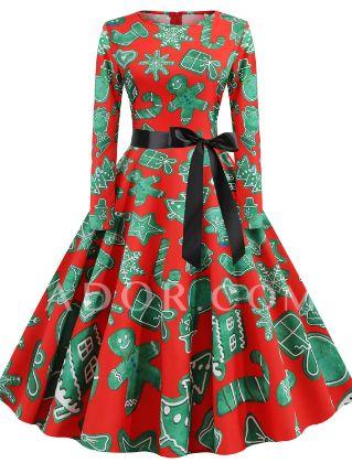 Women's A-Line Dress Knee Length Dress - Long Sleeve Print Print Fall Winter Casual Christmas Halloween 2020 Blue Red Yellow Green Royal Blue S M L XL XXL 3XL 4XL 5XL