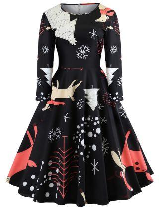 Women's A-Line Dress Knee Length Dress - Long Sleeve Print Print Spring Fall Vintage Christmas Party Slim 2020 Black S M L XL XXL