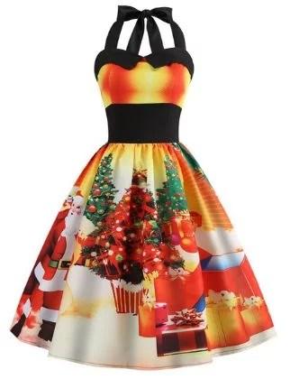 Women's A-Line Dress Knee Length Dress - Sleeveless Print Print Fall Halter Neck Elegant Christmas Slim 2020 Black Blue Red Yellow Orange Light Blue S M L XL XXL
