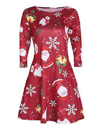 Women's Dresses&Skirts Christmas Black+White Black and Red 3#orange Black Red S M L XL XXL XXXL