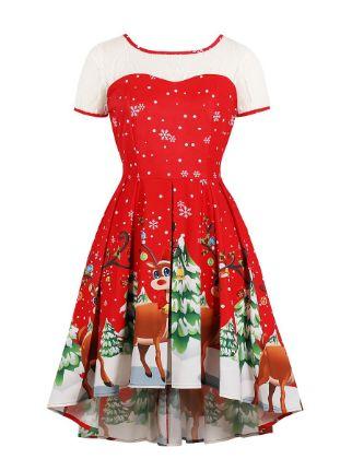 Women's Swing Dress Knee Length Dress - Short Sleeve Print Fall Winter Casual 2020 Red S M L XL XXL